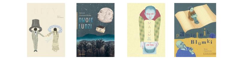 Okładki książek Iwony Chmielewskiej, nominowanej do
