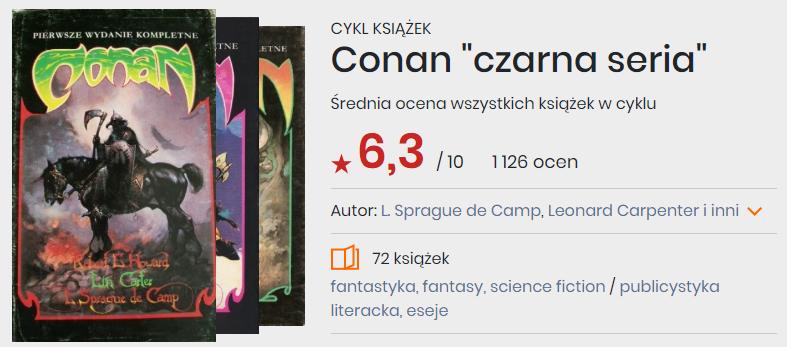 Okładki książek z cyklu Conan
