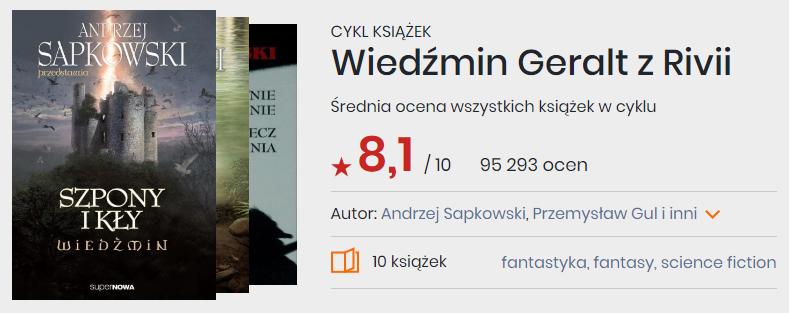 Cykl książek Wiedźmin Geralt z Rivii Andrzeja Sapkowskiego, okładki