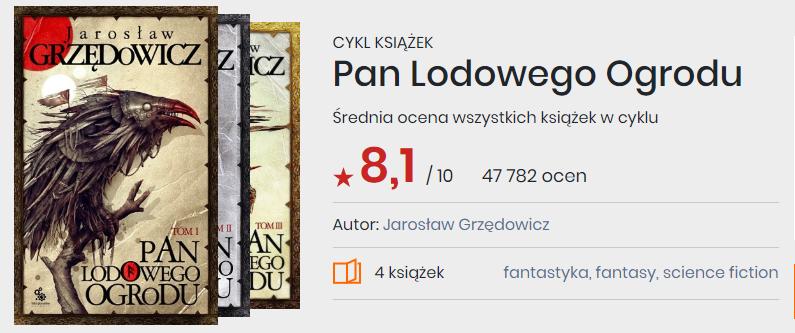 Okładki książek z cyklu Pan Lodowego Ogrodu Jarosław Grzędowicz