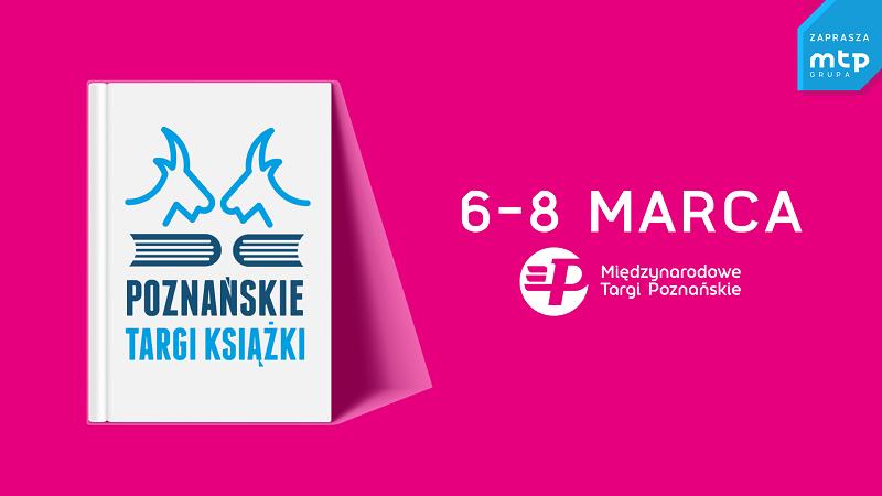 Różowy baner promujący poznańskie targi książki.