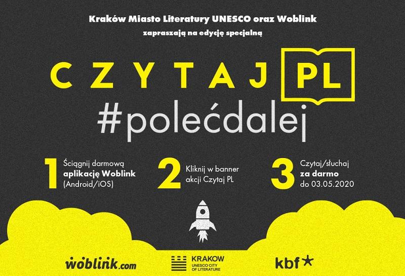 Baner reklamujący akcję Czytaj PL #PolećDalej