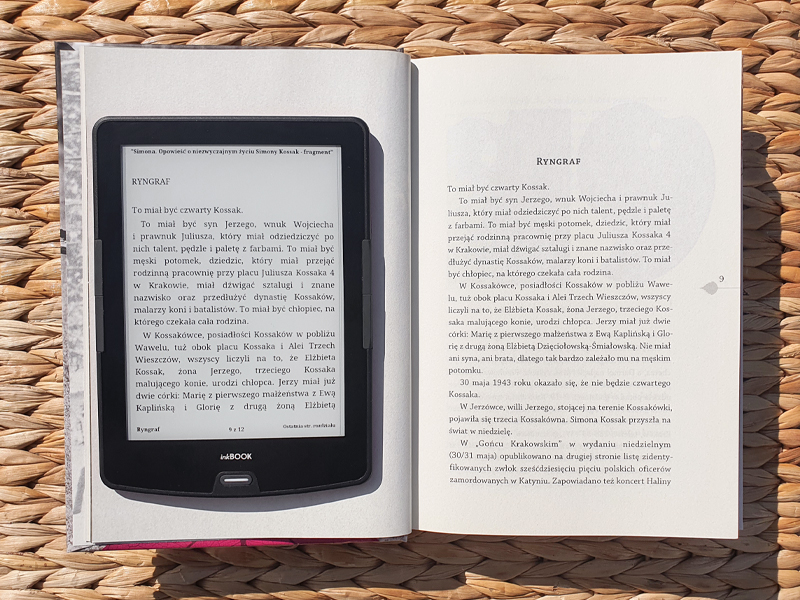 otwarta książka, czytnik inkbook