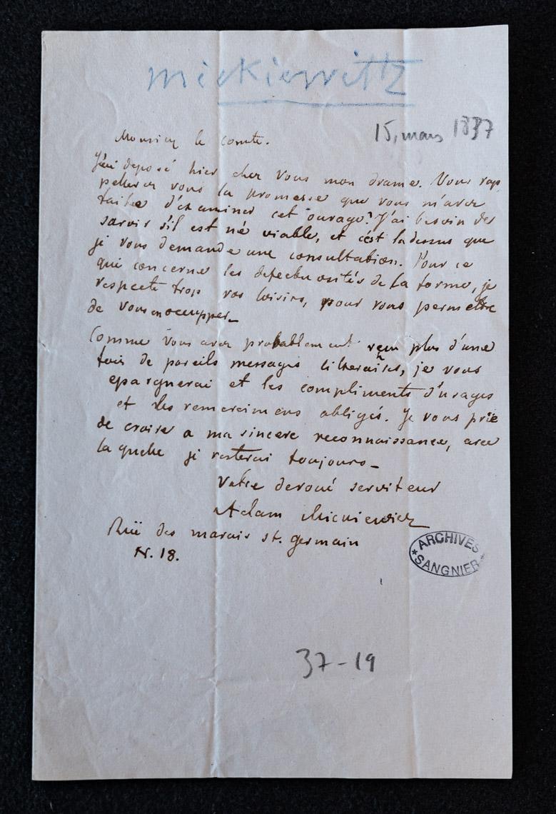 List Adama Mickiewicza do Alfreda de Vigny z 15 marca 1837 roku. Prośba o ocenę dramatu