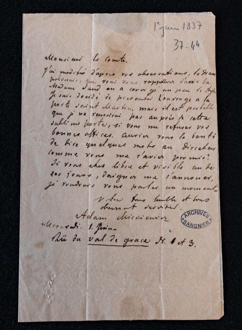 List Adama Mickiewicza do Alfreda de Vigny z 1 czerwca 1837 roku. Informacja o wprowadzeniu do dramatu poprawek de Vigny'ego i prośba o poparcie u dyrektora teatru Porte-Saint-Martin