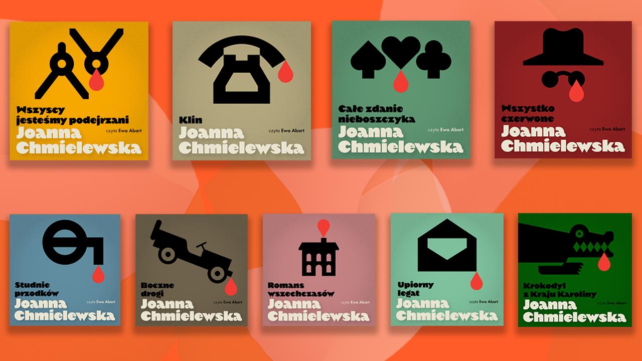 Okładki audiobooków Joanny Chmielewskiej w Storytel